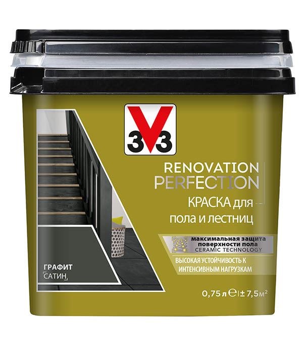 Краска водно-дисперсионная V33  Renovation Perfection для пола моющаяся графит 0,75 л стоимость
