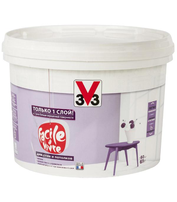 Краска водно-дисперсионная V33  Facile a vivre для стен и потолков моющаяся белая 6 л