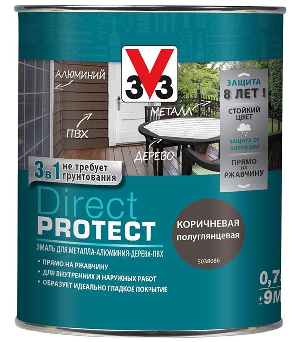 Эмаль по ржавчине V33  Direct Protect коричневая 3в1 0,75 л