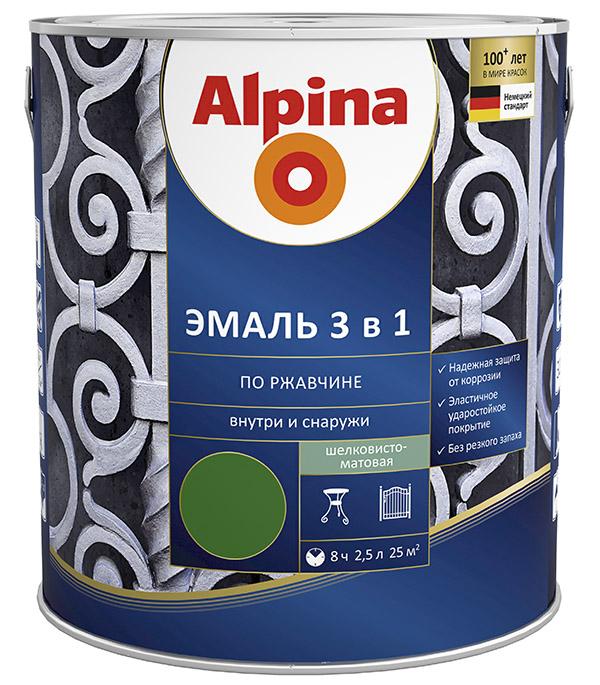Эмаль по ржавчине Alpina зеленая RAL 6002 3в1 2,5 л стоимость