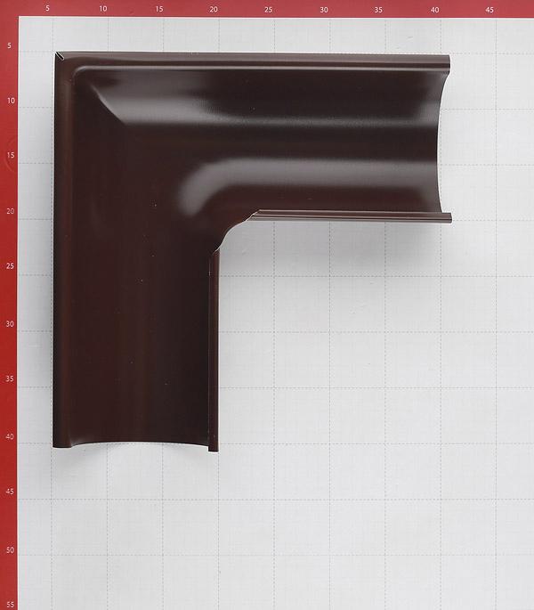 Угол желоба Grand Line металлический внешний d125 мм 90° коричневый RAL 8017 фото