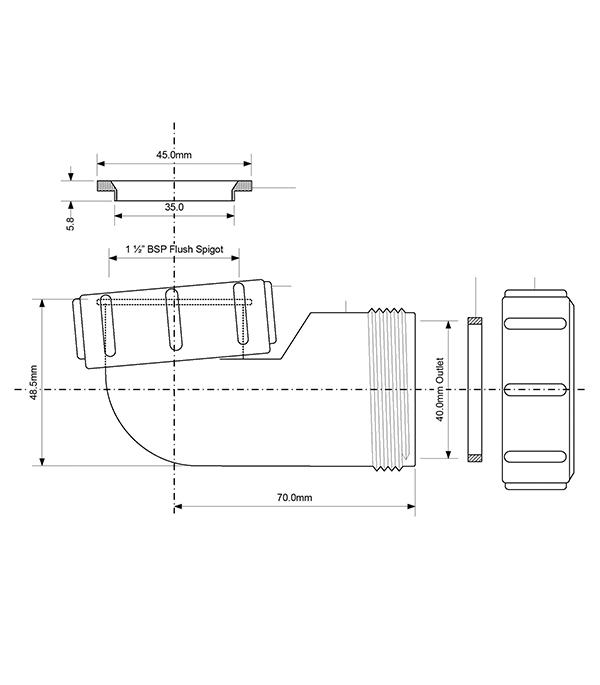 Отвод d40 мм 90° пластиковый компрессионный