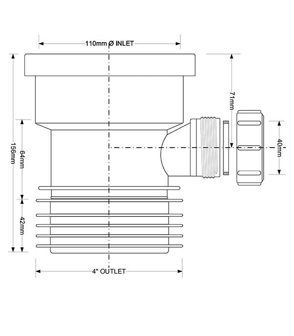 Муфта McAlpine d110 мм пластиковая с манжетой