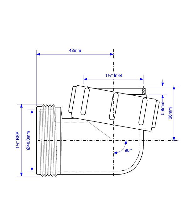 Отвод 1 1/2 ВР(г) х 1 1/2 НР(ш) 90° пластиковый для внутренней канализации фото