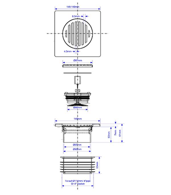 Трап вертикальный McAlpine (MRFGC3SNRV 110) с сухим