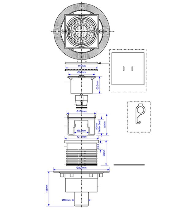 Трап вертикальный McAlpine (MRFG3V-50) с сухим затвором 115х115 мм d50 мм решетка из нержавеющей стали фото