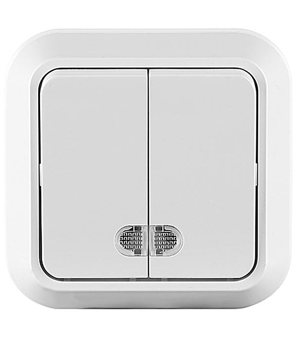 Выключатель Makel Mimoza 45123 двухклавишный открытая установка белый с индикацией механизм выключателя двухклавишный simon 15 с индикацией 16а белый