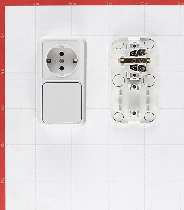 Блок выключателя с розеткой Makel Siva Ustu 451A1 одноклавишный открытая установка белый с заземлением со шторками фото