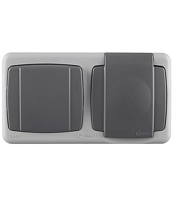 Фото - Блок выключателя с розеткой Makel 36064207 одноклавишный открытая установка серый с заземлением IP55 с быстрозажимными контактами устройства системы и сети коммутации