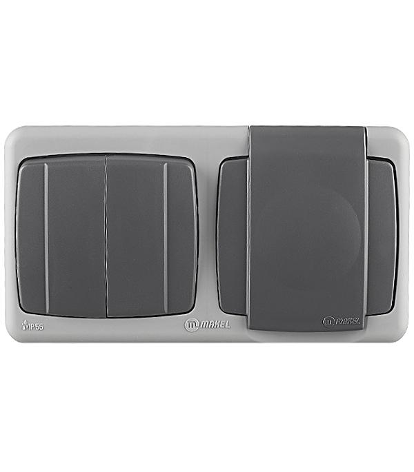 Блок выключателя с розеткой Makel 36064203 двухклавишный открытая установка серый с заземлением IP55
