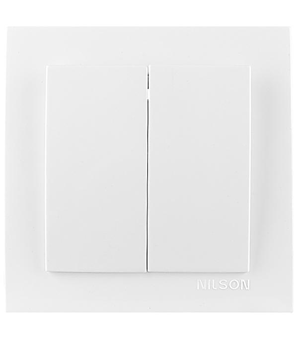 Выключатель с рамкой Nilson TOURAN 24111603 двухклавишный скрытая установка белый