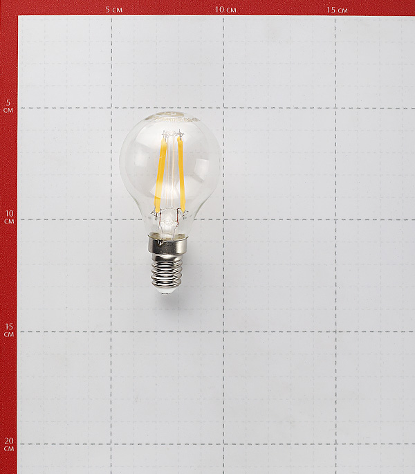 Лампа светодиодная 5 Вт E14 филаментная шар G45 2700 К теплый свет 230 В фото