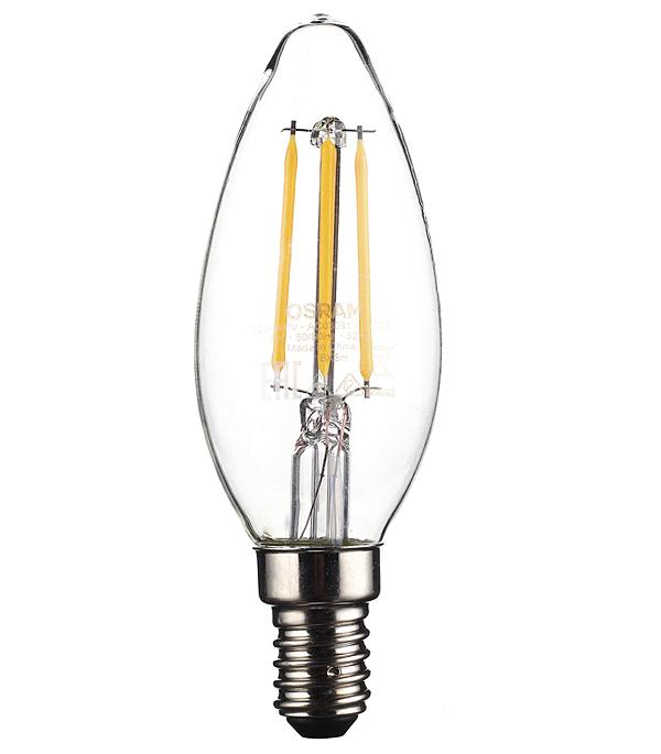 Лампа светодиодная Osram 4 Вт E14 филаментная свеча С37 2700 К теплый свет 230 В прозрачная