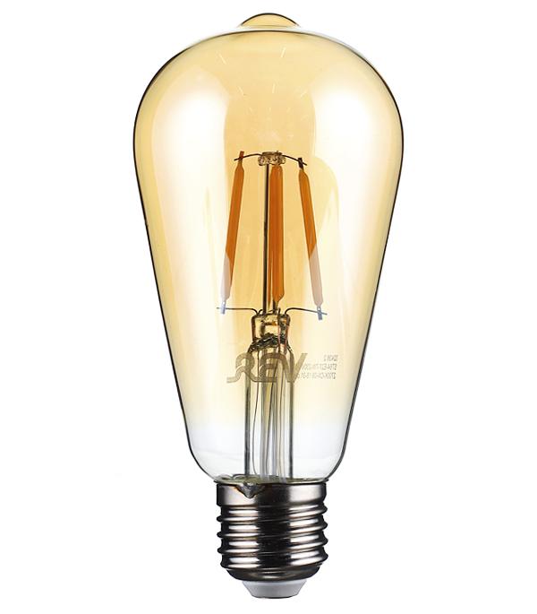 Лампа светодиодная REV филаментная E27 7Вт 2700K теплый свет ST64 груша винтаж 1шт 40 вт e26 e27 st64 2300 к дерево лампа накаливания vintage эдисон лампочка 220 240v