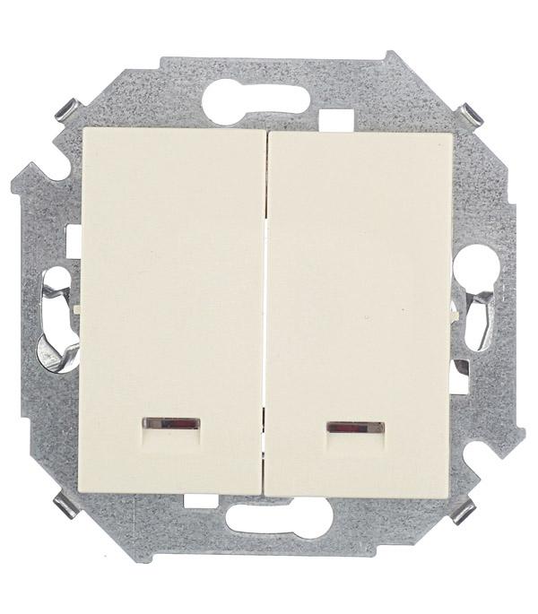 Выключатель Simon 15 1591392-031 двухклавишный скрытая установка слоновая кость с индикацией механизм выключателя двухклавишный simon 15 с индикацией 16а белый