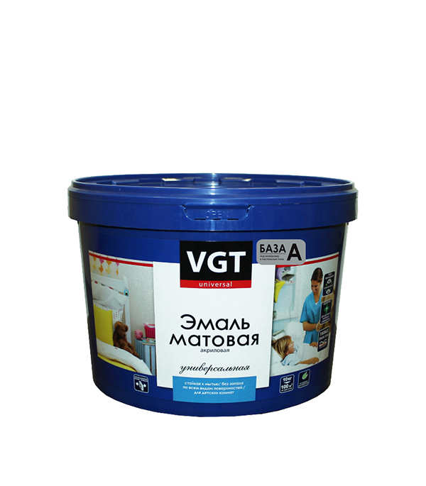 Эмаль универсальная матовая супербелая основа А VGT 9,3 л/15 кг эмаль универсальная матовая основа c vgt 30 кг
