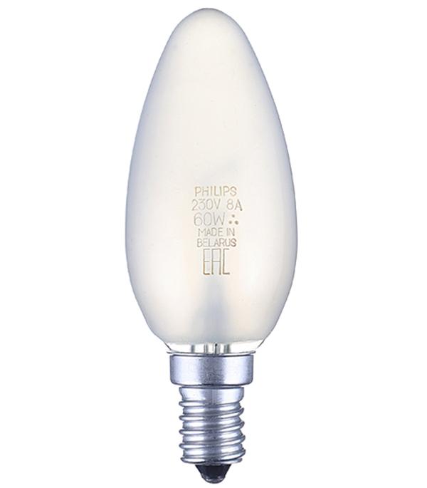 все цены на Лампа накаливания Philips E14 60W В35 свеча FR матовая онлайн