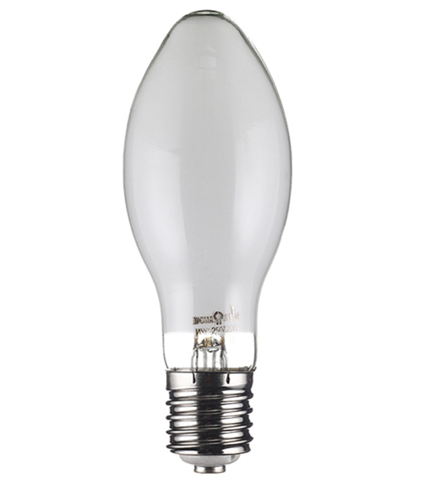 Лампа ртутная 250 Вт E40 дуговая ДРЛ 220 В для светильника РКУ прозрачная