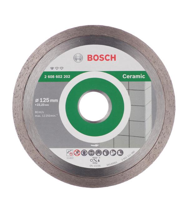 Диск алмазный сплошной по керамике Bosch Professional 125х22.2 мм диск алмазный сплошной по керамике 180х25 4 22 2 мм shaft