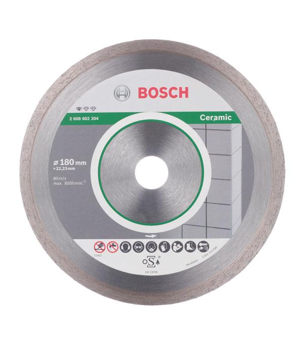 Диск алмазный сплошной по керамике Bosch Professional 180х22.2 мм диск алмазный сплошной по керамике 250х30 25 4 мм bosch профи