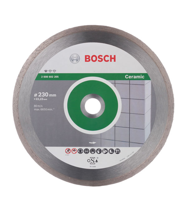 Диск алмазный сплошной по керамике Bosch Professional 230х22.2 мм диск алмазный сплошной по керамике 250х30 25 4 мм bosch профи