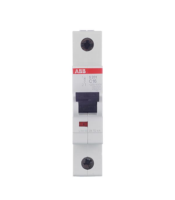 Автомат 1P 16А тип С 6 kA ABB S201 автомат 1p 16а тип с 6ка abb s201