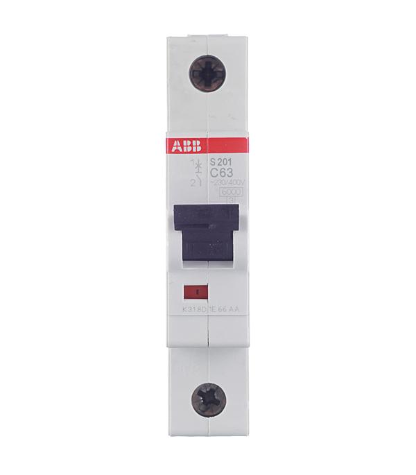 Автомат 1P 63А тип С 6 kA ABB S201 автомат abb s201 c63