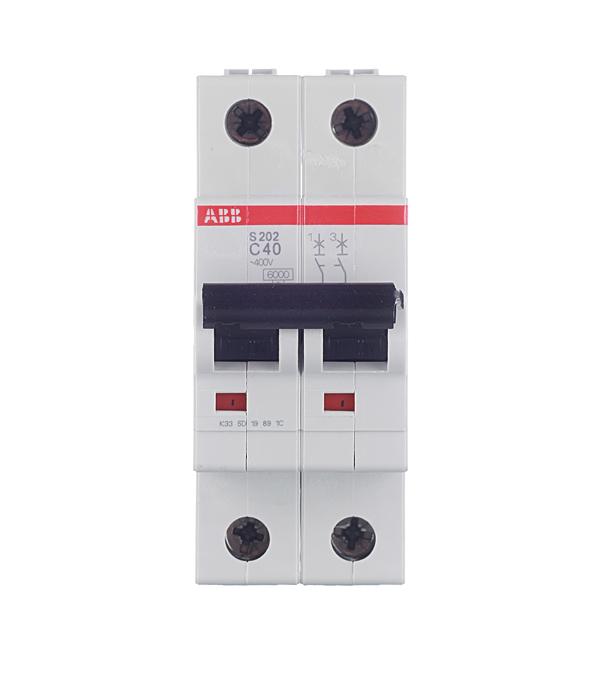 Автомат 2P 40А тип С 6 kA ABB S202 автомат 2p 32а тип с 6ка abb s202