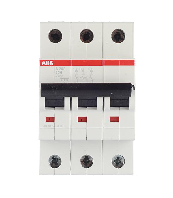 Автомат 3P 6А тип С 6 kA ABB S203 автомат 3p 63а тип с 6 ka abb s203