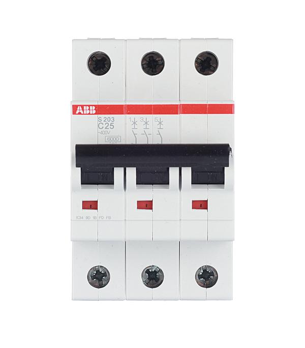 Автомат 3P 25А тип С 6 kA ABB S203 автомат 3p 63а тип с 6 ka abb s203