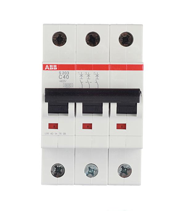 Автомат 3P 40А тип С 6 kA ABB S203 автомат abb s203 c40