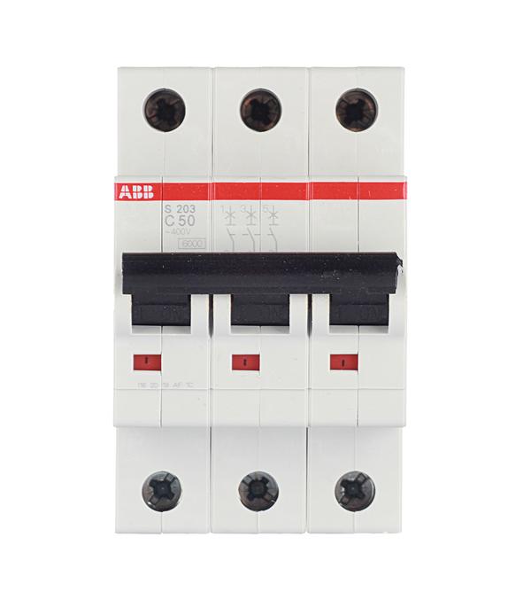 Автомат 3P 50А тип С 6 kA ABB S203 автомат 3p 63а тип с 6 ka abb s203