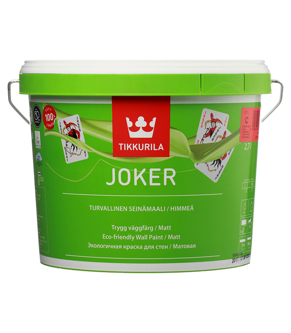 Краска в/д Tikkurila Joker акрилатная основа С матовая 2.7 л краска в д eskaro akzent 35 полуглянцевая акрилатная 9л бел