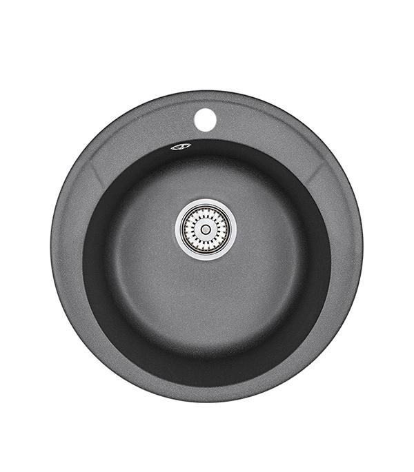 Мойка для кухни GRANULA Standart 480х480х190 мм врезная круглая без крыла кварц черный