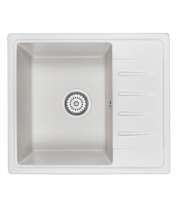 Мойка для кухни GRANULA Standart 580х500х200 мм врезная прямоугольная с крылом кварц белый
