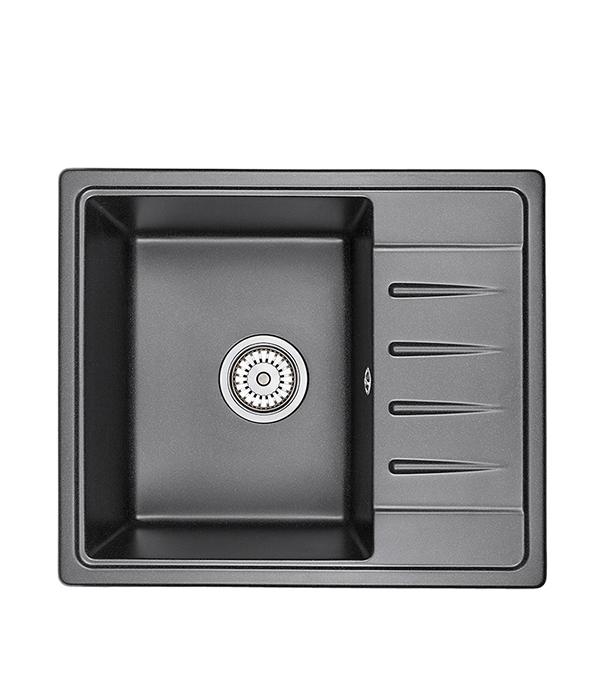 Мойка для кухни GRANULA Standart 580х500х200 мм врезная прямоугольная с крылом кварц черный