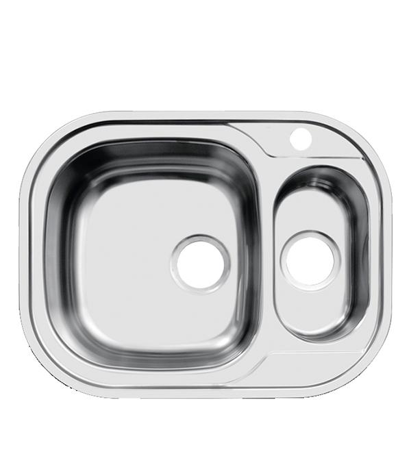 Мойка для кухни UKINOX Галант 628х488х190/130 мм врезная прямоугольная с двумя чашами сталь