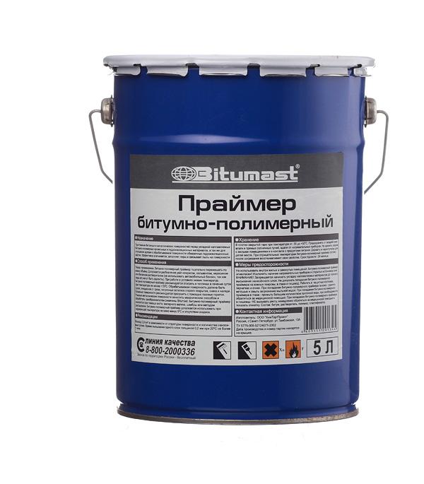 Праймер битумно-полимерный Bitumast 4 кг/5 л мастика для гибкой черепицы фиксер технониколь 23 3 6 кг 3 л