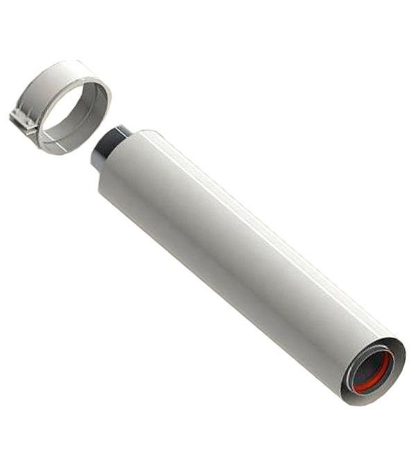 Труба коаксиальная Stout D60/100 500 мм, уплотнения и хомут в комплекте stout элемент дымохода dn60 100 адаптер для котла вертикальный коаксиальный совместимый с vaillant protherm new с логотипом