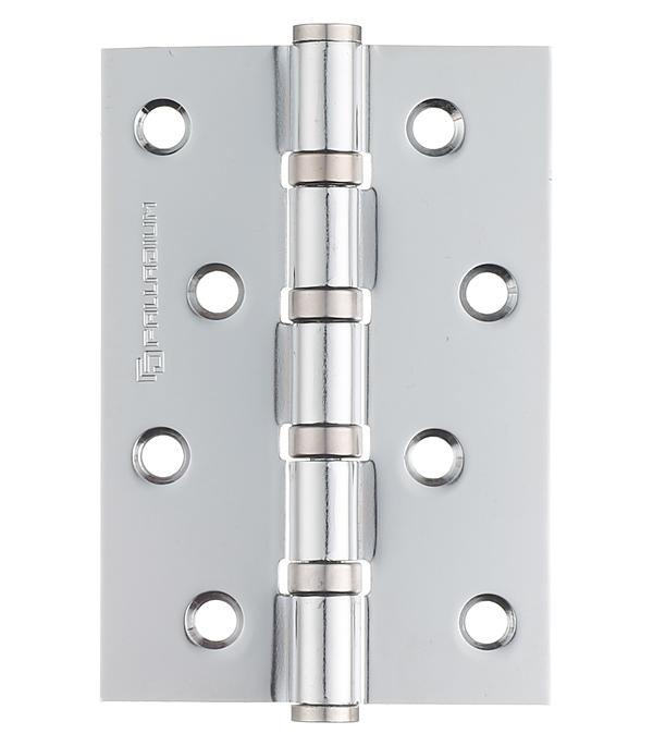 Петля Palladium N 4BB-100 CP универсальная неразъемная 100х75 мм серебро петля дверная palladium 2вв 100 универсальная 2 подшипника цвет античная бронза длина 10 см