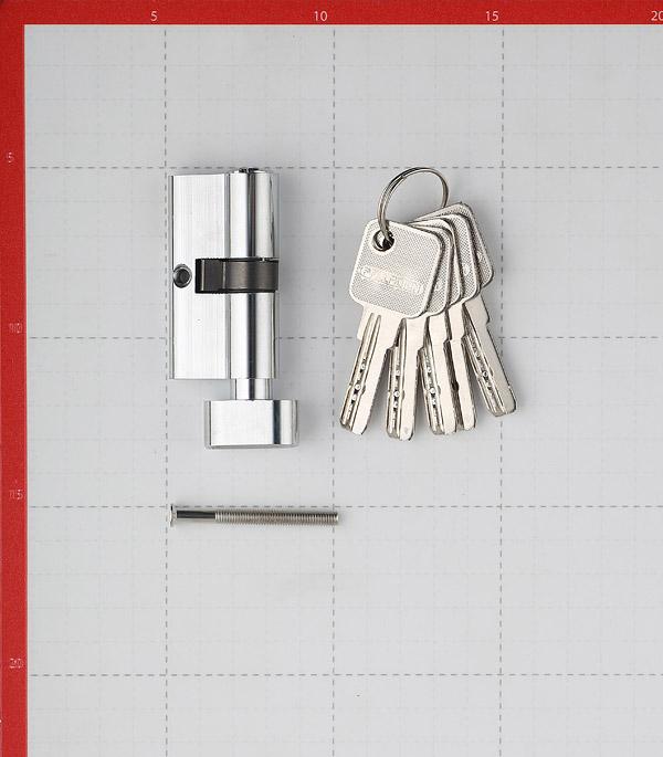 Цилиндр Palladium AL 60 C T01 CP 60 (30х30) мм ключ-вертушка хром