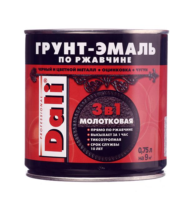 цена на Грунт-эмаль по ржавчине Dali молотковая серебристая 3в1 0,75 л