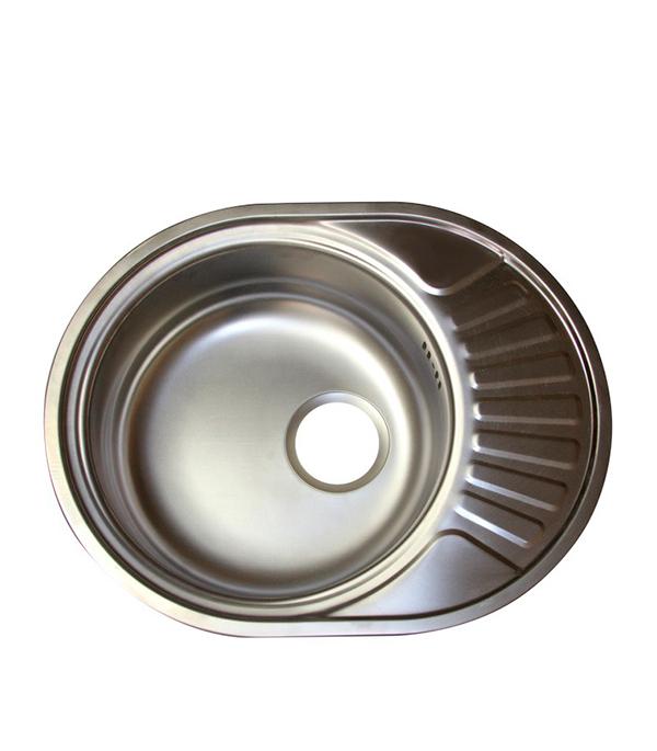 Мойка для кухни VLADIX 570х450х160 мм врезная овальная с крылом сталь