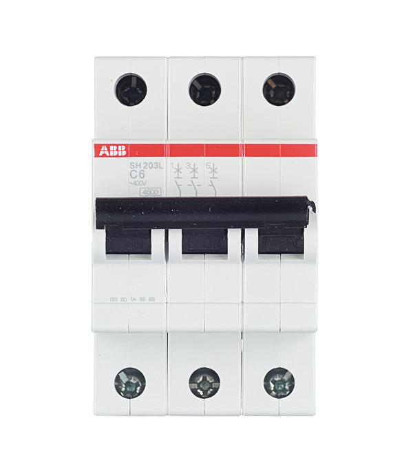 Автомат ABB SH203L (2CDS243001R0064) 3P 6 А тип C 4,5 кА 400 В на DIN-рейку