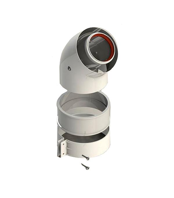 Отвод коаксиальный D60/100 45° Stout, уплотнения и хомут в комплекте stout элемент дымохода dn60 100 комплект адаптер вертикальный утепленный 1000 мм фин уч ок адаптер в комплекте