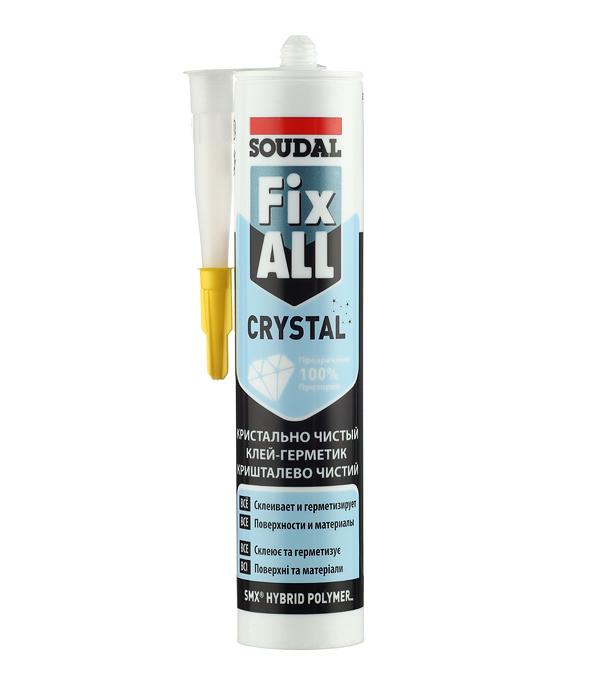 Клей герметик Soudal Фикс Алл Кристалл прозрачный 290 мл герметик клей soudal фикс алл классик белый 290 мл