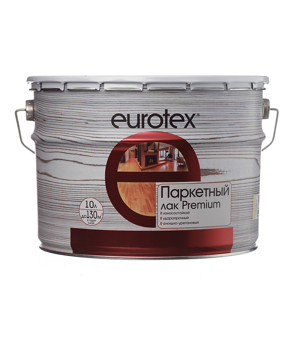 Лак алкидно-уретановый паркетный Eurotex Premium бесцветный 10 л глянцевый