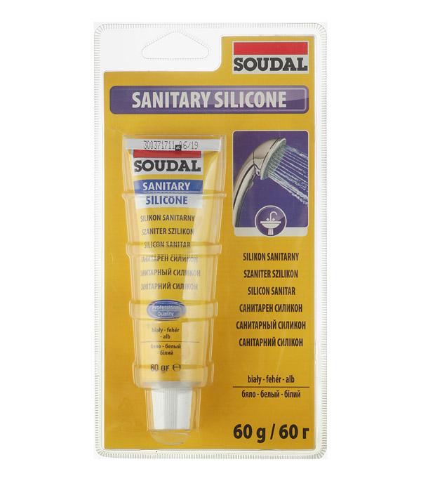 Герметик силиконовый санитарный Soudal белый 60 гр