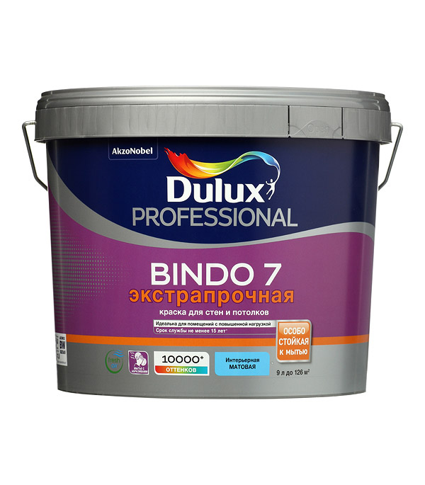 Фото - Краска водно-дисперсионная Dulux Bindo 7 экстрапрочная моющаяся белая основа BW 9 л краска водно дисперсионная dulux bindo 7 экстрапрочная моющаяся основа вс 1 л