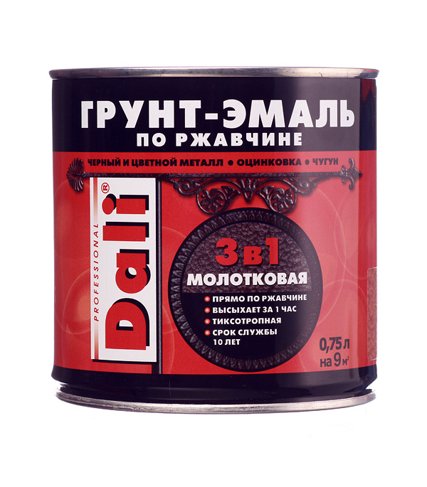 цена на Грунт-эмаль по ржавчине Dali молотковая медная 3в1 0,75 л